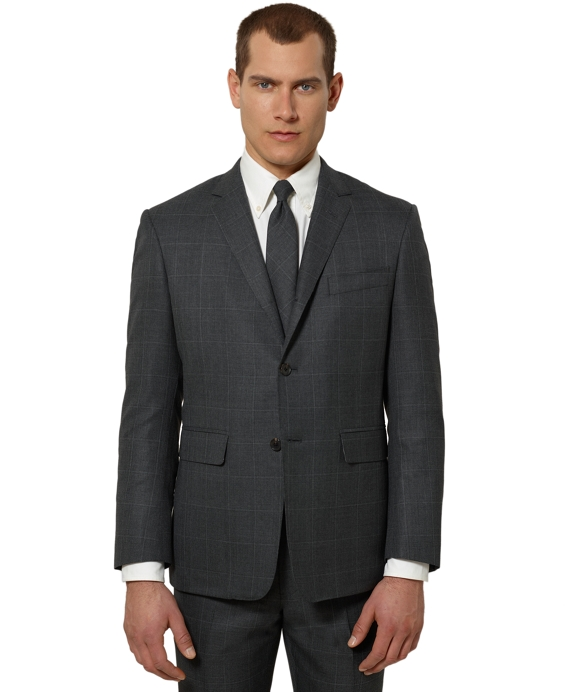 Black Fleece Plaid Classic Suit Charcoal