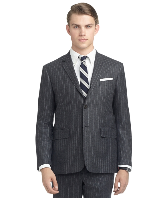 SAXXON WOOL CHALK STRIPE BEDFORD SUIT Grey