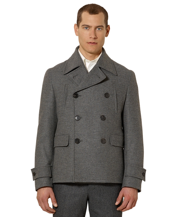 Black Fleece Double-Breasted Back Inset Belted Coat Grey