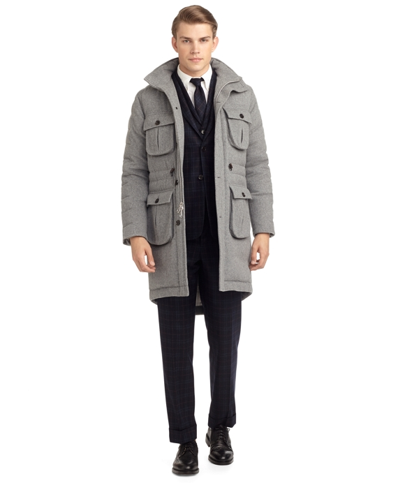 CASHMERE QUILTED COAT Grey
