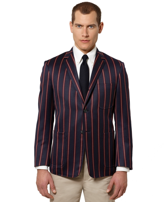 Stripe Patch Pocket Jacket Navy-Red-Brown