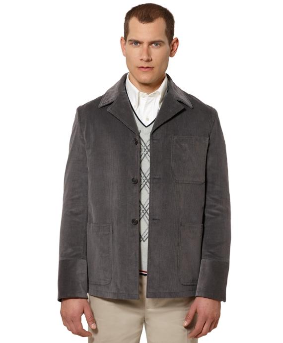 Corduroy Military Patch Jacket Grey