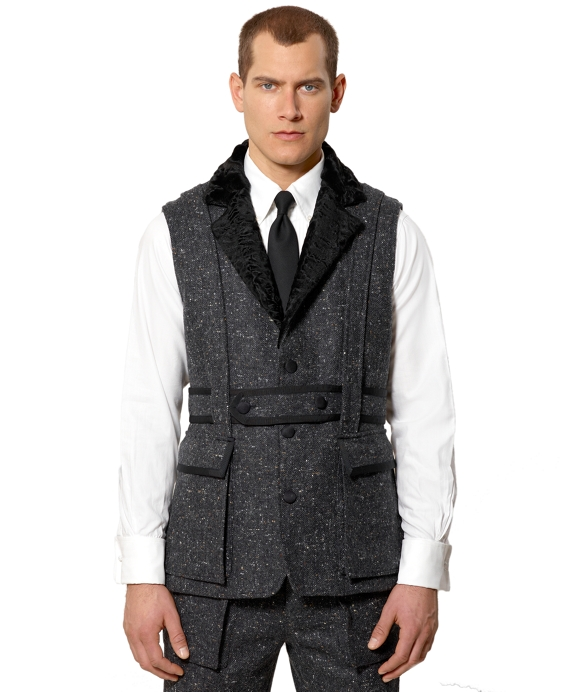 Black Fleece Norfolk Tipped Vest with Full Collar Charcoal