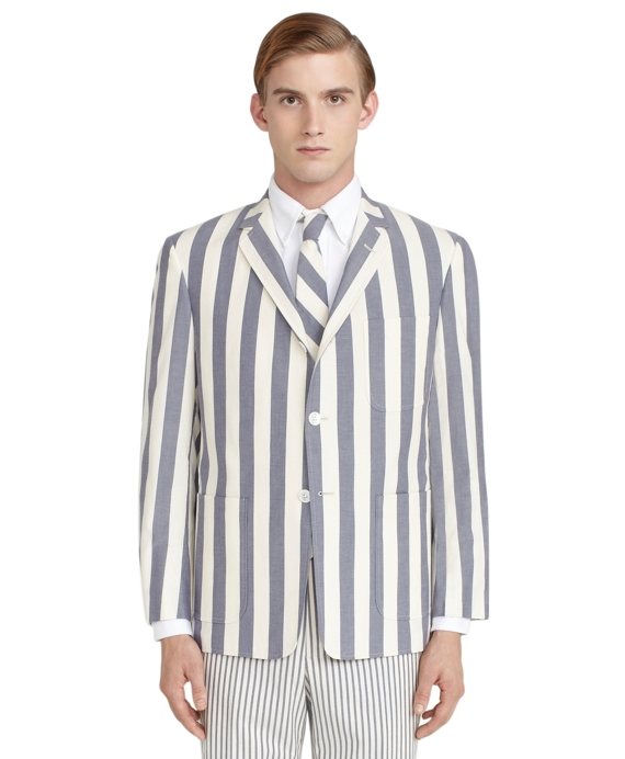 Wide Stripe Patch Pocket Jacket Blue-Cream