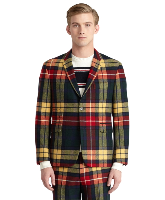 Tartan Cut Away Jacket Green Multi
