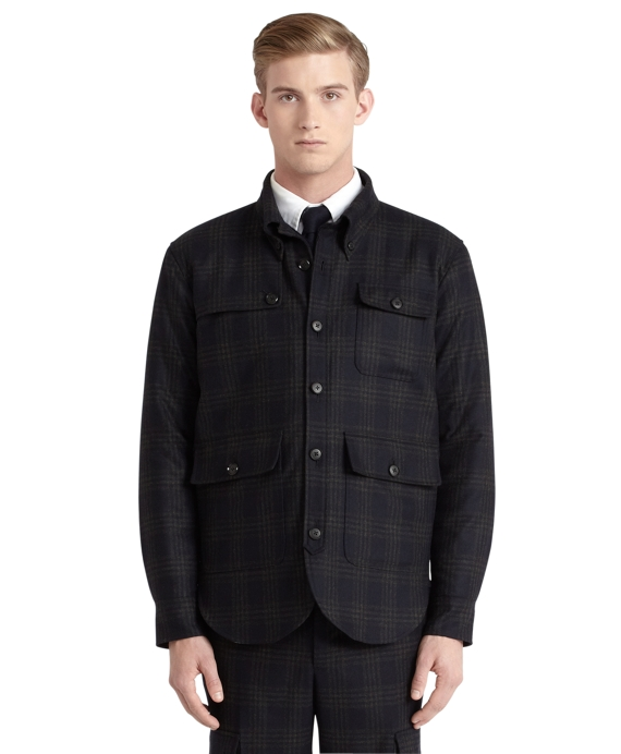Plaid Shirt Jacket Navy-Green