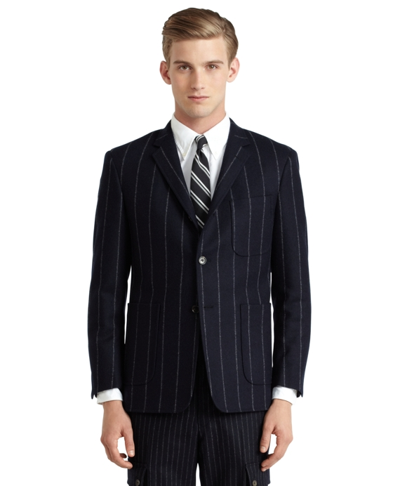 Wide Chalk Stripe Patch Pocket Jacket Navy
