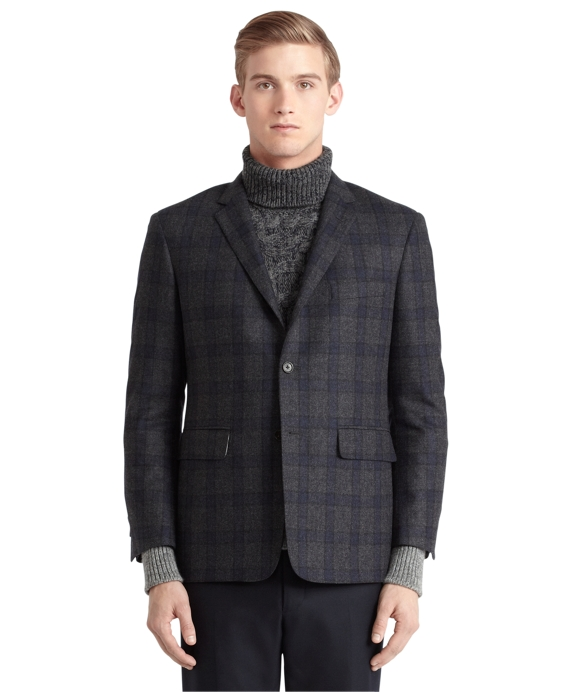 Plaid Darted Jacket Grey-Navy