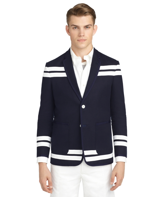 STRIPE PIQUE JACKET Navy-White