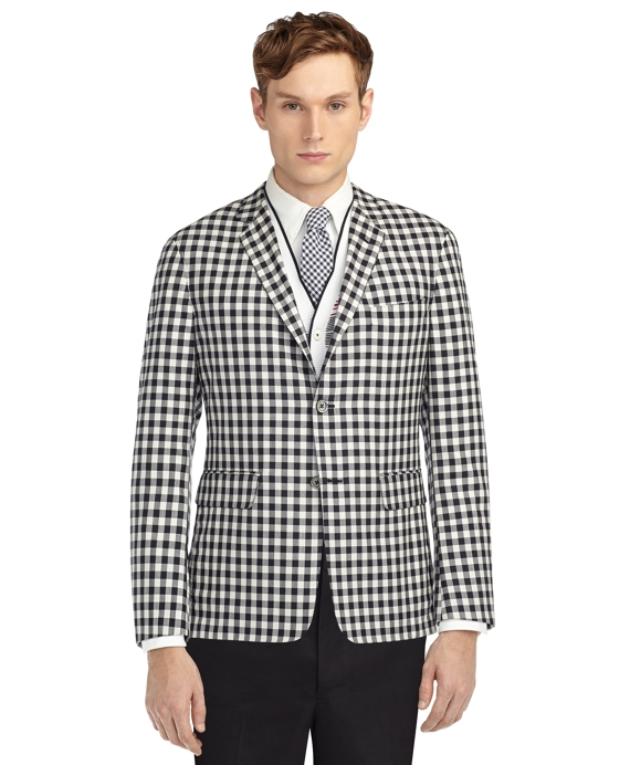 Men's Black Fleece Gingham Unconstructed Jacket