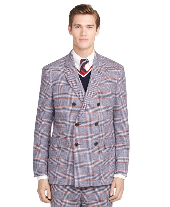 Double-Breasted Plaid Sport Coat Navy