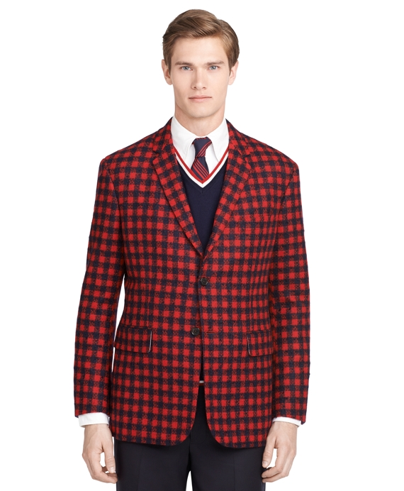Check Sport Coat Navy-Red