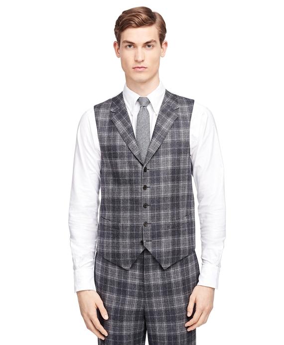 Men's Grey Plaid Suit Vest | Brooks Brothers