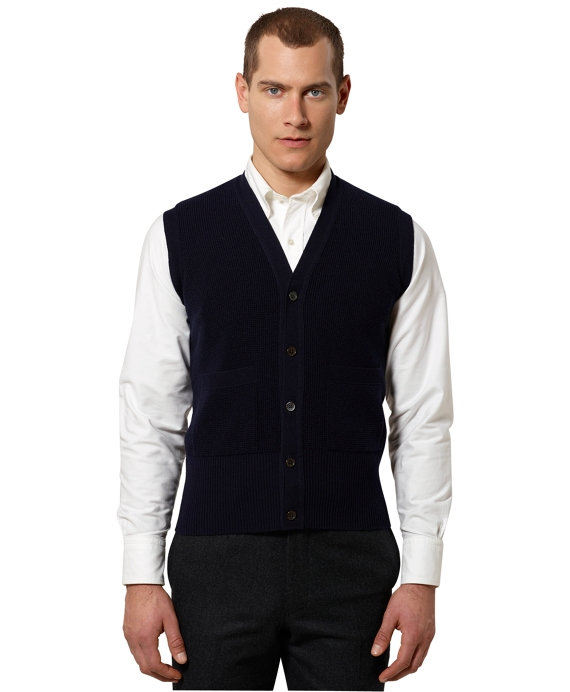 Black Fleece Thermal Stitch Button-Front Vest Navy