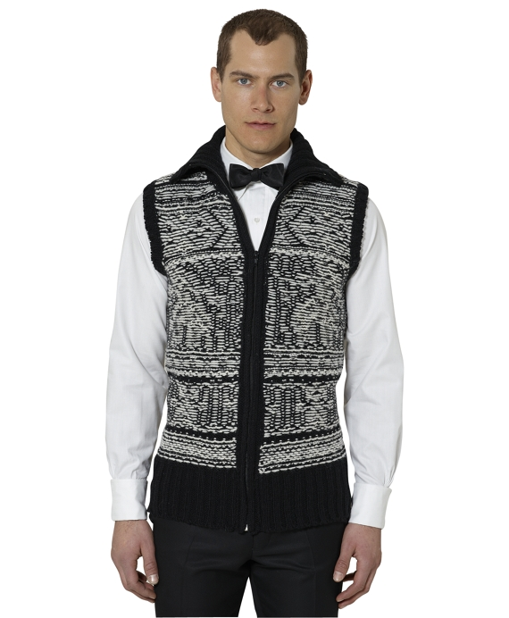 Fleece Signature Vest Black-Ivory