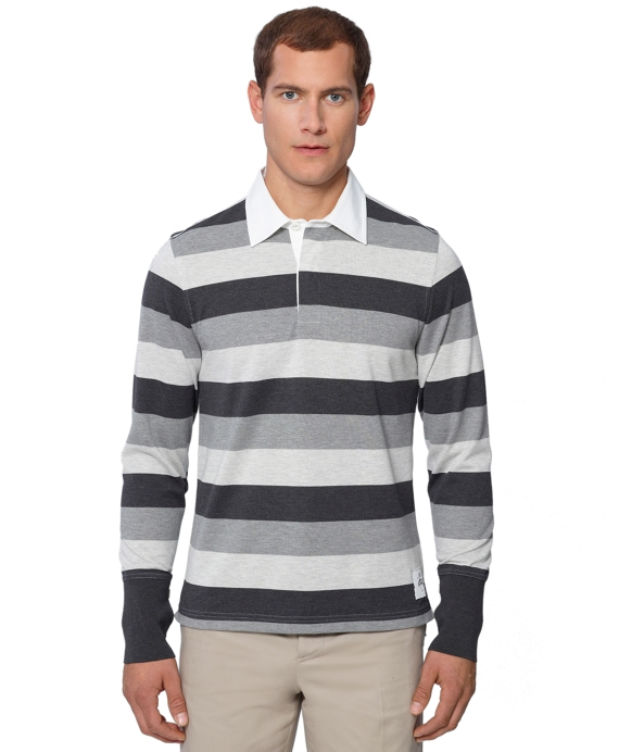 Three-Color Wide Stripe Rugby Light Grey