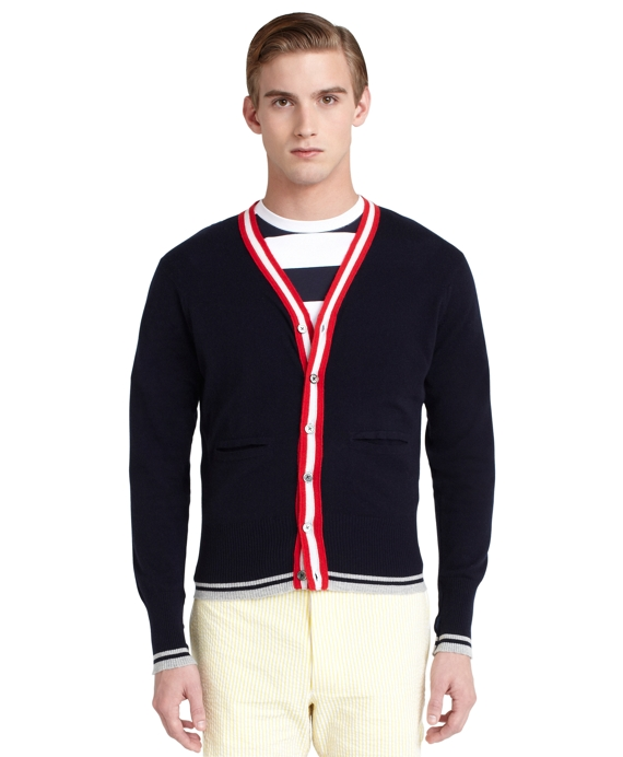 Cashmere Color-block Cardigan Navy-Red