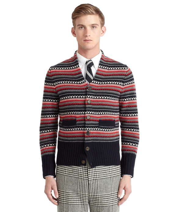 Fair Isle Shawl Cardigan Navy-Multi