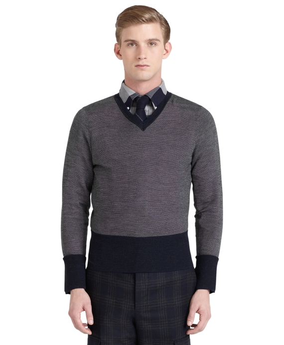 Bird's-Eye Stripe V-Neck Sweater Charcoal