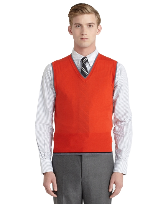 Men's Black Fleece Orange Merino Wool Sweater Vest | Brooks Brothers