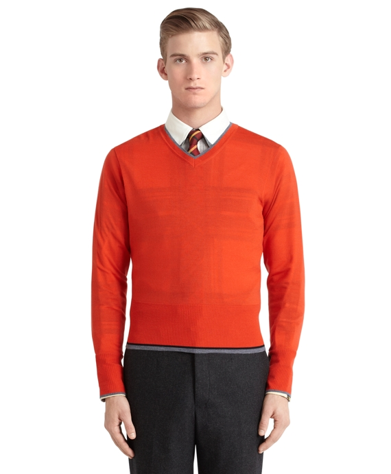 Merino Wool V-Neck Sweater Orange