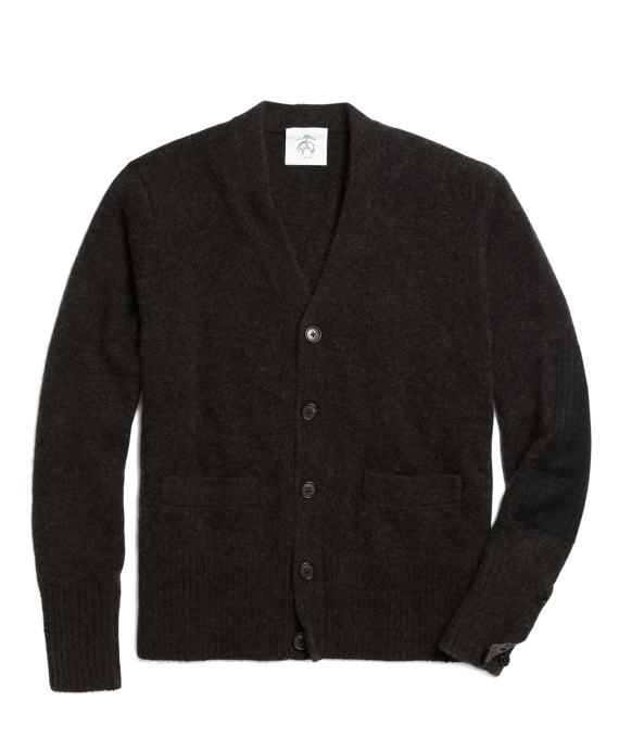 Brushed Cardigan with Elbow Patches Charcoal