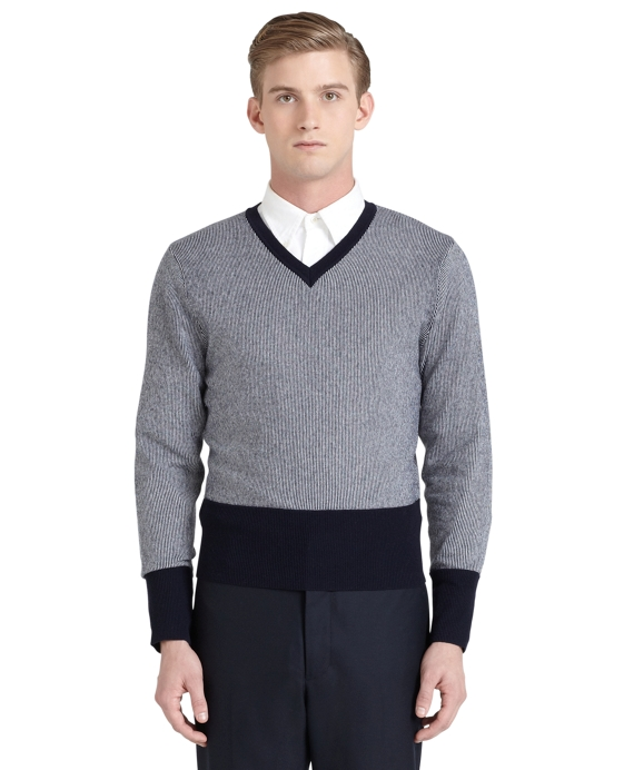 Vertical Stripe Sweater Grey-Navy