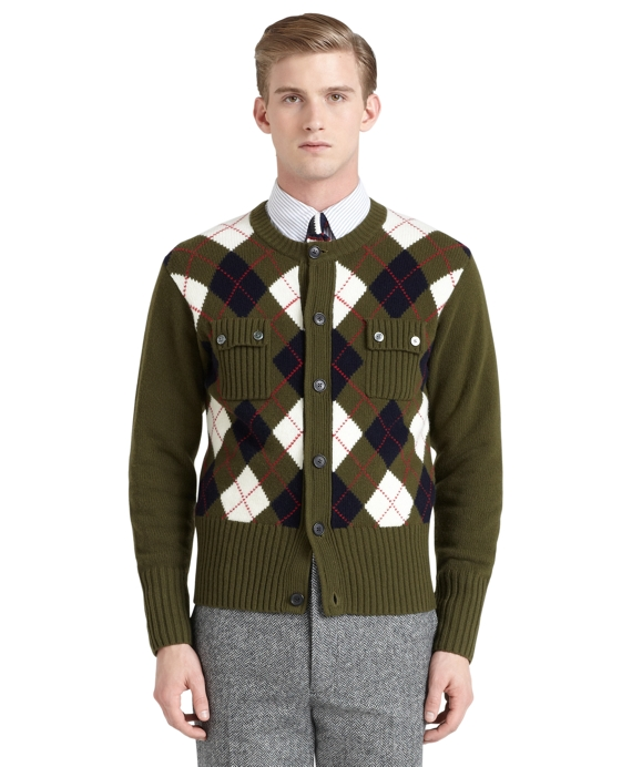 Argyle Pocket Cardigan Olive Multi