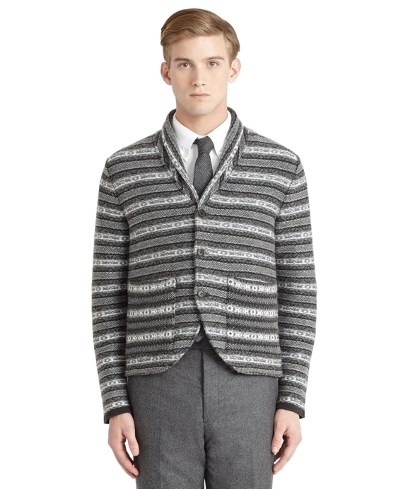 Cashmere Fair Isle Sweater Jacket Charcoal