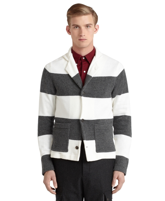 Color Block Sweater Jacket Grey-White
