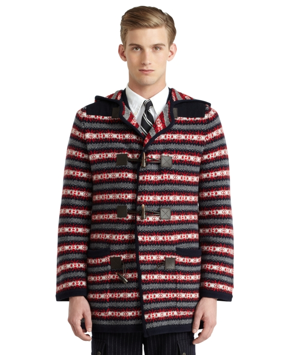 Fair Isle Hooded Duffle Coat Navy-Multi