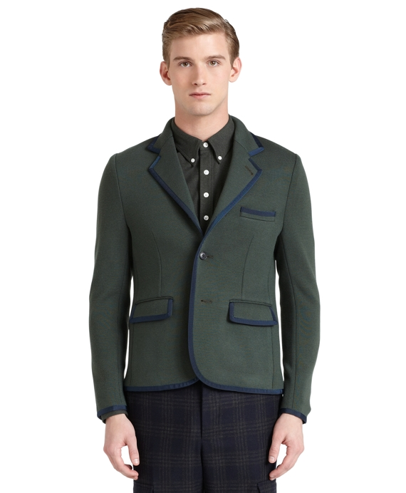 Stripe Back Sweater Jacket Olive-Navy