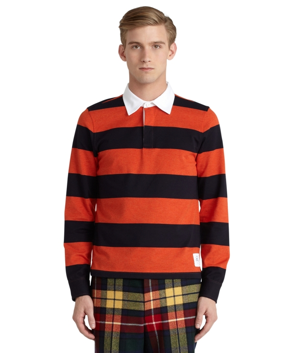 Long-Sleeve Striped Pique Polo Navy-Orange