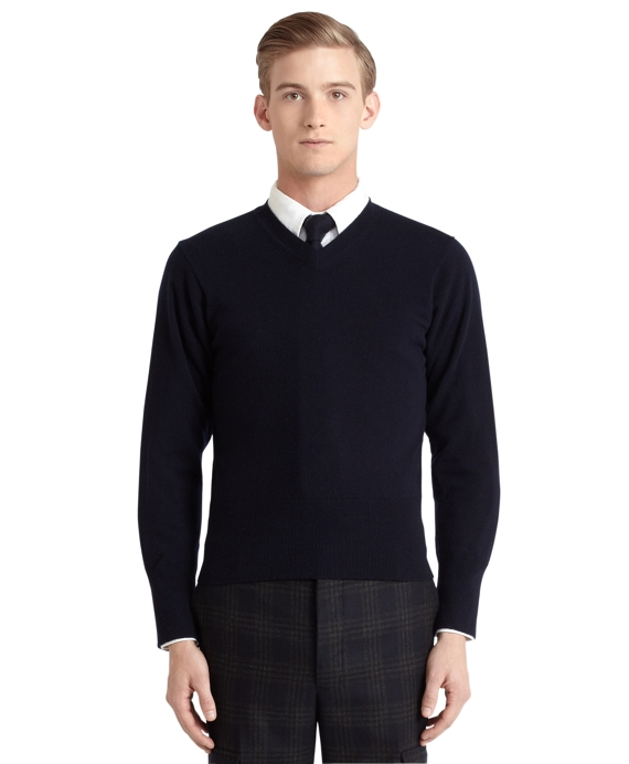 Cashmere V-Neck Sweater Navy