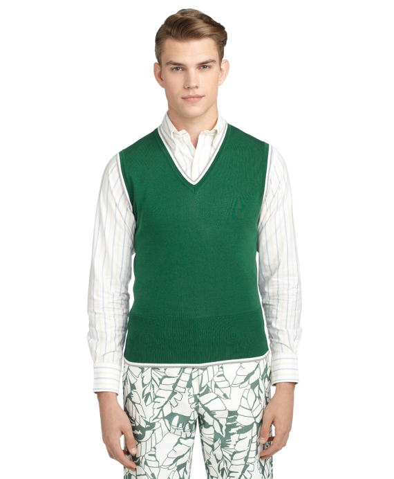 TIPPED V-NECK  VEST Green