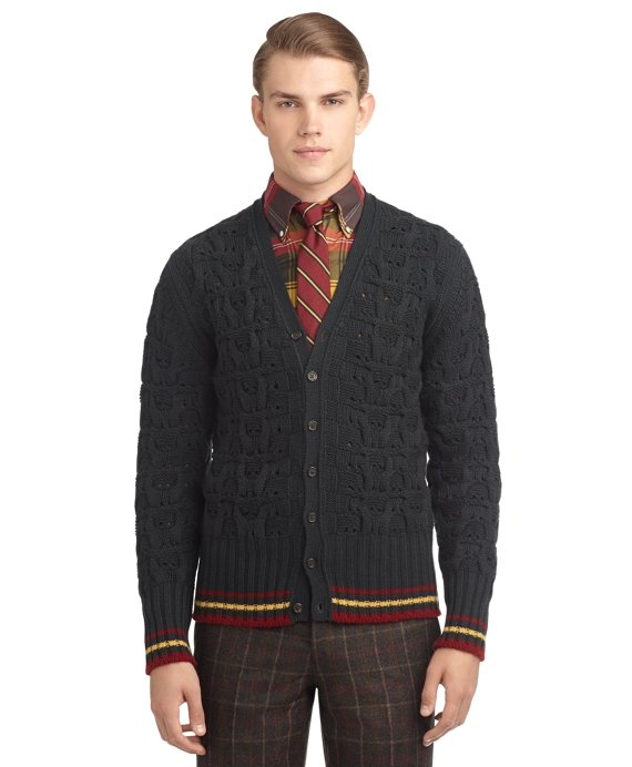 CASHMERE CABLE KNIT CARDIGAN Green-Red-Mustard