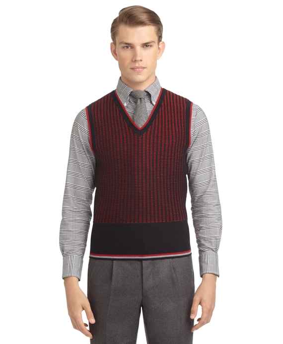 Men's Navy Blue and Red Jacquard Sweater Vest | Brooks Brothers