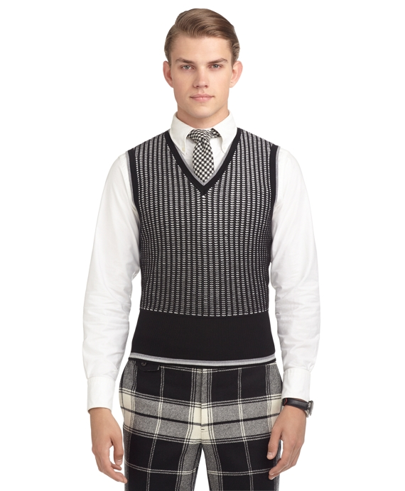 BLACK AND WHITE JACQUARD SWEATER VEST Black-White
