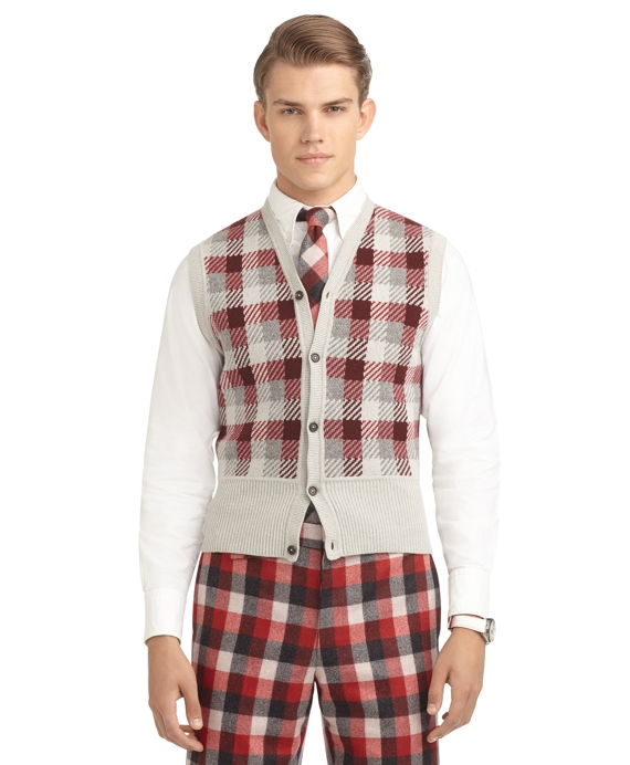 Men's Checkered Reversible Button-Front Sweater Vest | Brooks Brothers
