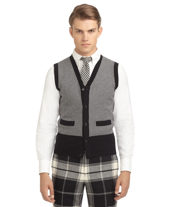CHECK BUTTON-FRONT SWEATER VEST - Brooks Brothers