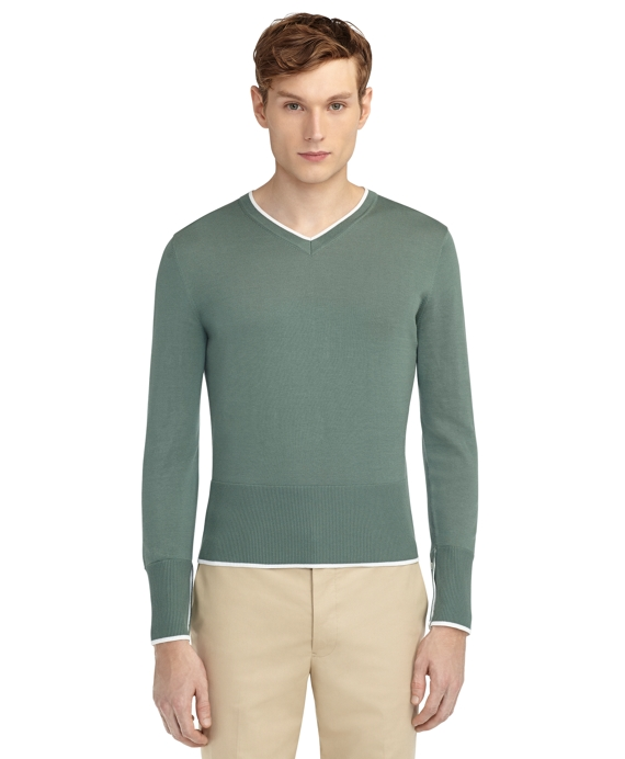 COLOR-BLOCK SWEATER Green-White
