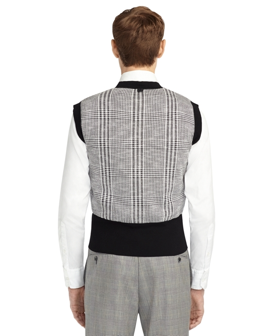 Men's Black Fleece Plaid Sweater Vest | Brooks Brothers