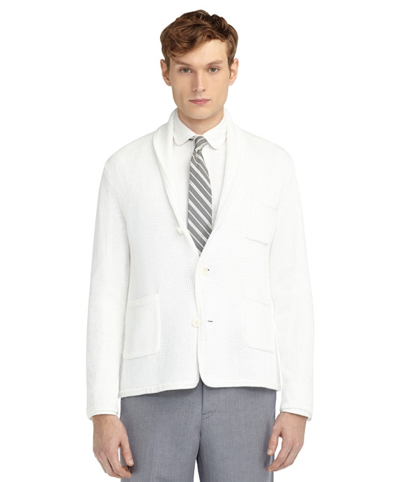SHAWL COLLAR CARDIGAN White