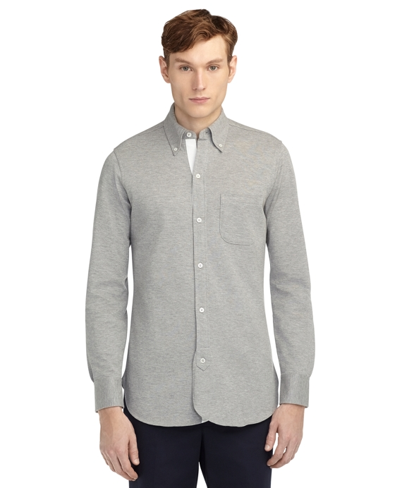 LONG SLEEVE PIQUE POLO Grey