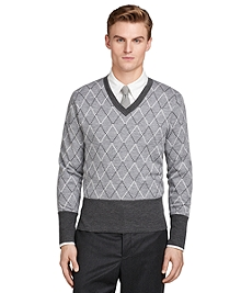 Grey Argyle V-Neck Sweater