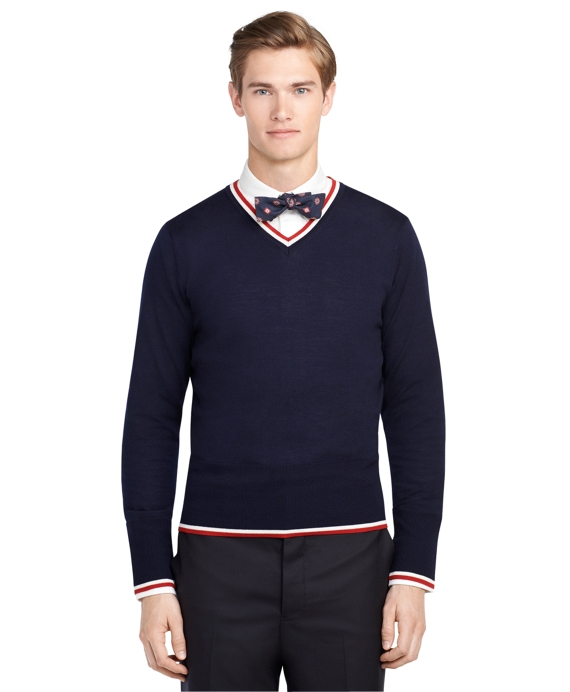 Men's Navy Blue Tipped V-Neck Sweater | Brooks Brothers