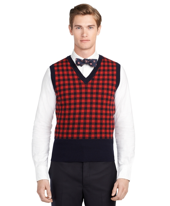 Red Check Vest Red