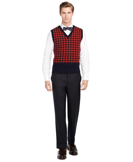 Men's Red Checkered Sweater Vest | Brooks Brothers