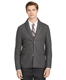 Dark Grey Shawl Collar Knit Jacket