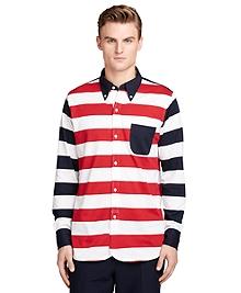 Long-Sleeve Stripe Polo Shirt
